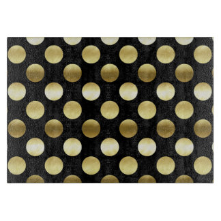 Classy Gold Foil Polka Dots Black Cutting Board