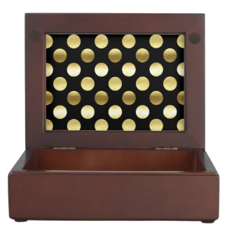 Classy Gold Foil Polka Dots Black Keepsake Box