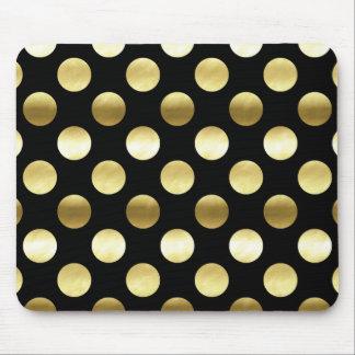 Classy Gold Foil Polka Dots Black Mouse Pad