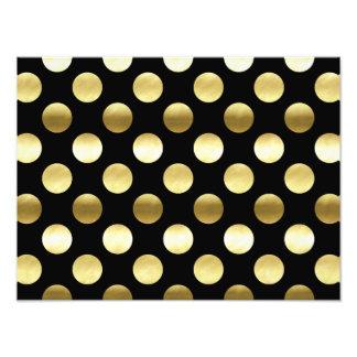 Classy Gold Foil Polka Dots Black Photograph