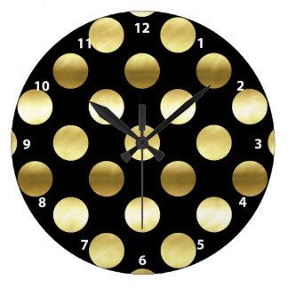 Classy Gold Foil Polka Dots Black Wallclocks