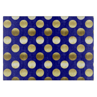 Classy Gold Foil Polka Dots Navy Blue Cutting Board