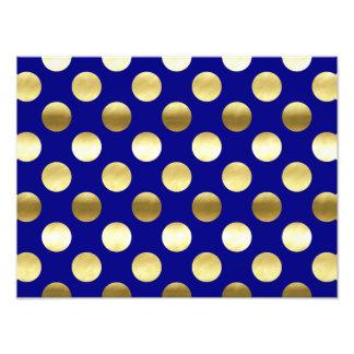 Classy Gold Foil Polka Dots Navy Blue Photo
