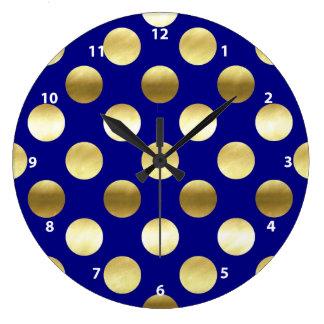 Classy Gold Foil Polka Dots Navy Blue Wallclock