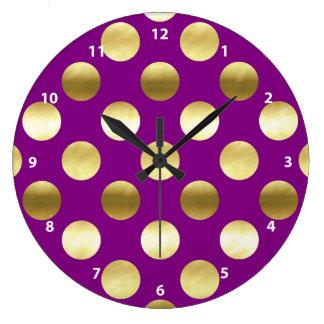 Classy Gold Foil Polka Dots Purple Clock