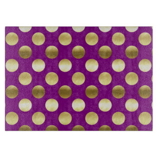 Classy Gold Foil Polka Dots Purple Cutting Board