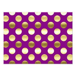 Classy Gold Foil Polka Dots Purple Photographic Print
