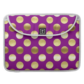 Classy Gold Foil Polka Dots Purple Sleeve For MacBooks