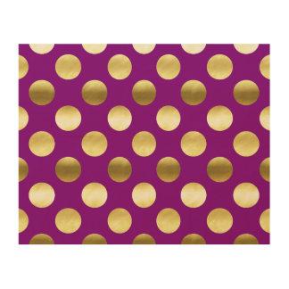 Classy Gold Foil Polka Dots Purple Wood Print