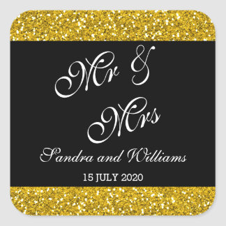 Classy Gold Glitter and Black Mr & Mrs Wedding Square Sticker