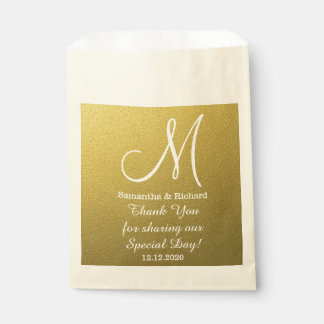 Classy Gold Glitter Wedding Thank You Monogram Favour Bags