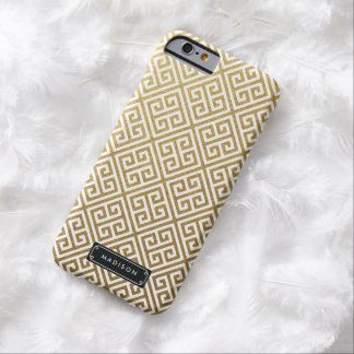 Classy Gold Greek Key Personalized Barely There iPhone 6 Case