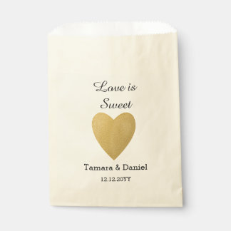 Classy Gold Heart Personalized Wedding  Party Favour Bags