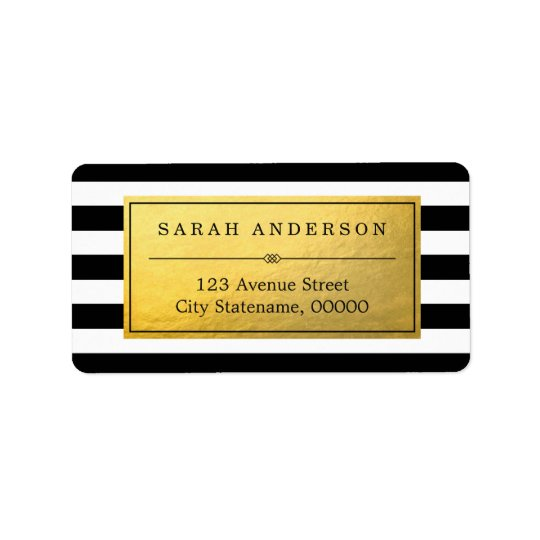 Classy Gold Label and Black White Stripes Address Label