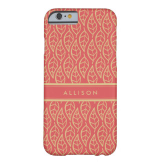 Classy Gold Leaf on Coral Personalized Phone Barely There iPhone 6 Case