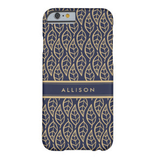 Classy Gold Leaf on Navy Blue Personalized Phone Barely There iPhone 6 Case