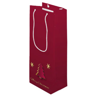 Classy Gold Red Christmas Tree - Wine Gift Bag
