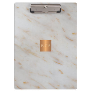 Classy gold steel copper metallic grey marble clipboard