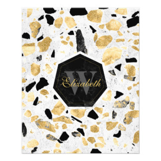 Classy gold vintage marble abstract design flyer