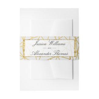 Classy Gold & White Wedding Invitation Belly Band