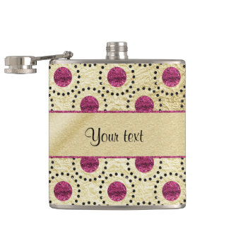 Classy Gold With Pink Glitter Dots Hip Flask