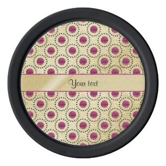Classy Gold With Pink Glitter Dots Poker Chips Set