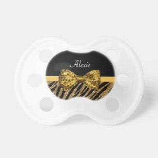 Classy Gold Zebra Print FAUX Glitz Bow With Name Dummy