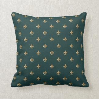 Classy golden like fleur de lis on dark sea green cushion