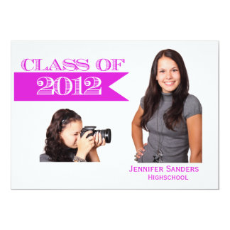Classy Graduation Announcement with Pink Banner