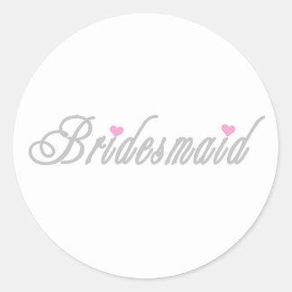 Classy Grays Bridesmaid Classic Round Sticker
