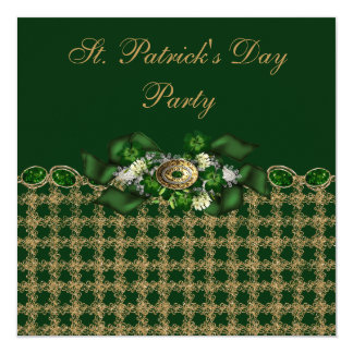 Classy Green & Gold St. Patrick's Day Party 5.25x5.25 Square Paper Invitation Card