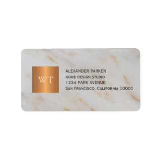 Classy grey marble metallic copper square monogram label