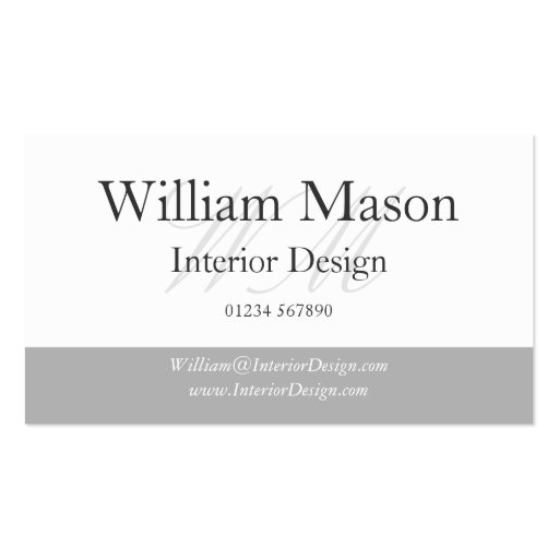 Classy Grey & White Monogram Business Card Business Card Templates