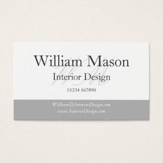 Classy Grey & White Monogram Business Card