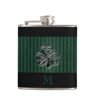 Classy grundge Irish lucky shamrock monogram Flask