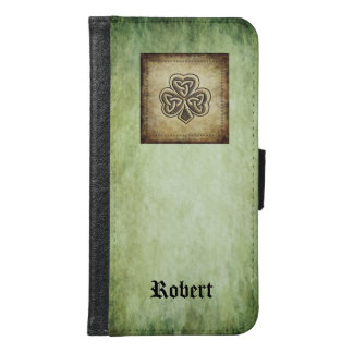 Classy grundge Irish lucky shamrock  monogram Samsung Galaxy S6 Wallet Case