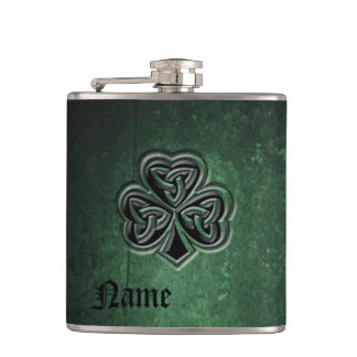 Classy grunge Irish lucky shamrock personalized Hip Flask