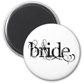 Classy Grunge Wedding - The Bride - B&W 6 Cm Round Magnet