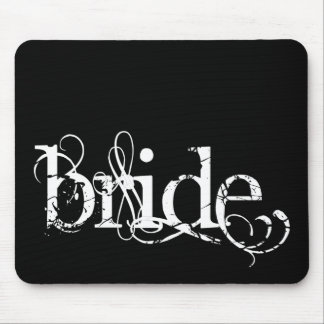 Classy Grunge Wedding - The Bride - B&W Mouse Pad