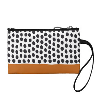 Classy Handpainted Polka Dots with Autumn Maple Coin Purse