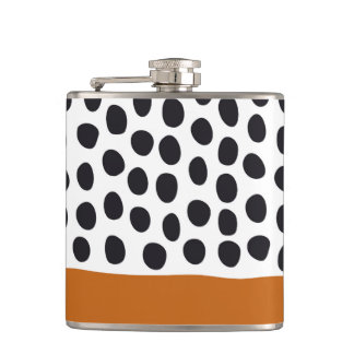 Classy Handpainted Polka Dots with Autumn Maple Hip Flask