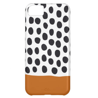 Classy Handpainted Polka Dots with Autumn Maple iPhone 5C Case