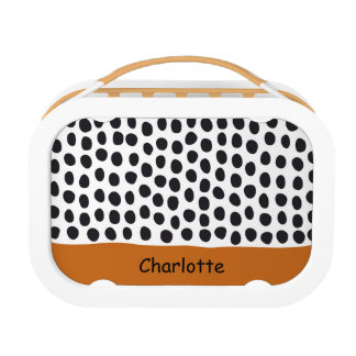 Classy Handpainted Polka Dots with Autumn Maple Lunch Box