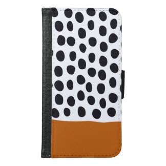 Classy Handpainted Polka Dots with Autumn Maple Samsung Galaxy S6 Wallet Case