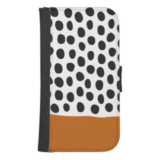 Classy Handpainted Polka Dots with Autumn Maple Samsung S4 Wallet Case