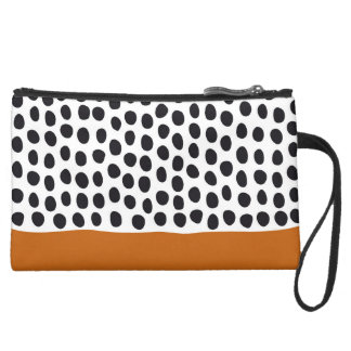 Classy Handpainted Polka Dots with Autumn Maple Suede Wristlet