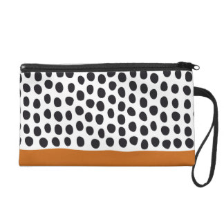 Classy Handpainted Polka Dots with Autumn Maple Wristlet
