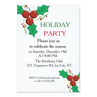 Classy Holly Berries Company Christmas Party 13 Cm X 18 Cm Invitation Card