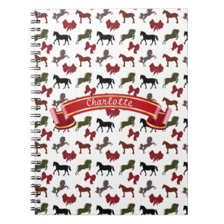 classy Horses  and Bows Pattern Custom Notebooks
