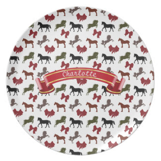 classy Horses  and Bows Pattern Custom Party Plates